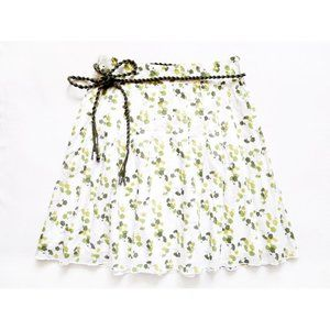 "NEW Pleated Tie Waist Floral Skirt 2 (29"" x 21"")"
